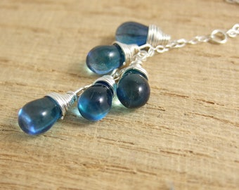 Necklace with a Cascade of Azure/Aqua Blue Glass Teardrops on a Sterling Silver Chain CDN-693