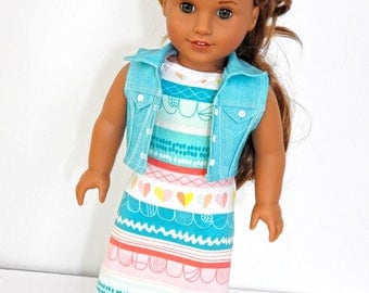 18 Inch Doll Maxi Dress, Cropped Denim Vest, AG Doll Maxi Dress, Handmade Doll Maxi Dress Fits American Girl
