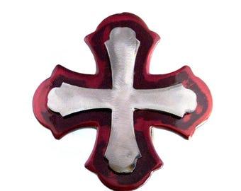 Gothic Cross Metal Belt Buckle by WATTO Distinctive Metal Wear/Interchangeable Snap-On Belt Buckles for Men, Womens Belt Buckle/Cross Buckle