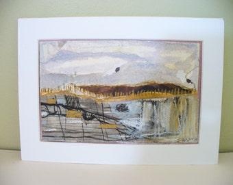 Original Abstract Landscape Collage Mixed Media Mini Modern Contemporary Art