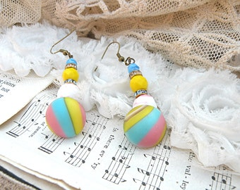 pastel glass button earrings assemblage recycle upcycled jewelry dangles cottage chic homespun
