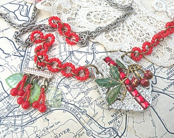 cherry assemblage necklace summer berry upcycled vintage rhinestone buckle red fruit juicy jewelry cottage chic
