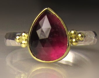 Pink Tourmaline Ring, Rose Cut Pink Tourmaline Ring, 18k Gold and Sterling Silver