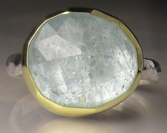 Rose Cut Aquamarine Ring, 18k Gold and Sterling Silver, Aquamarine Ring