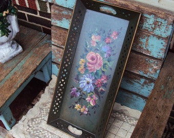 Vintage Metal Toleware Tray Large Decorative Tray Wall Hanging Mid Century Hand Painted Tole Tray Floral Flowers
