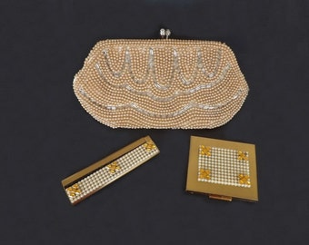 Vintage Purse Comb and Compact Mirror Set, Ladies Accessories, Antique Evening Bag, Antique Compact Mirror, Beaded Purse, Antique Comb