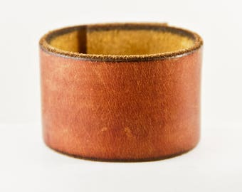 Brown Leather Cuff Bracelet Made From Vintage Belt