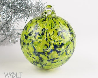 Blown Glass Christmas Tree Holiday Ornament Bauble Bright Olive Green Speckle