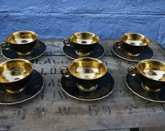 Stunning bavarian black and gold vintage tea set - six cups and saucers