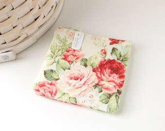 Red and Pink Floral Coin Purse Pink Roses Change Purse Floral Gift Card Holder