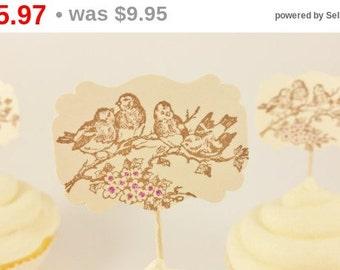 SALE 12 Bird on Flowery Branch Cupcake Toppers Wedding Birthday Anniversary