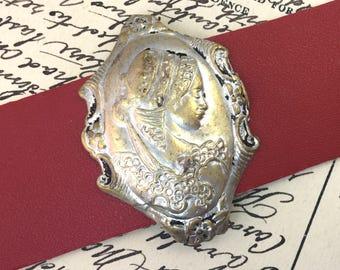 Vintage Cameo Bracelet, Leather Cuff Bracelets for Women, Leather Bracelets for Women, Art Deco Jewelry, Upcycled Vintage Jewelry, Cameo