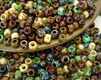 Assorted Beads, Picasso Seed Beads, Toho Hybrid Seed Beads, 6/0 (30g) #1CTP