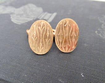 Victorian Cufflinks, Antique Etched Design Gold Metal Mens Jewelry Cuff Links
