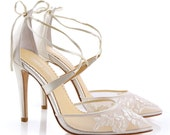 Alencon lace ivory wedding shoes heels with ankle straps. classic lace wedding heels Bella Belle Anita