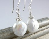 Pearl Dangle Earrings, Coin Pearl Earrings, Drop Pearl Earrings, White Wedding Earrings, June Birthstone Jewelry, Freshwater Pearl Earrings