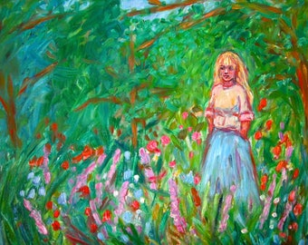 Contemplation 20x16 ORIGINAL OIL PAINTING girl in field Impressionist Kendall Kessler