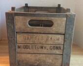 Vintage 1950's Wooden Milk Bottle Crate #F