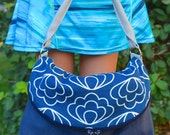 Fold-over Flap Shoulder Bag in Navy Ripple