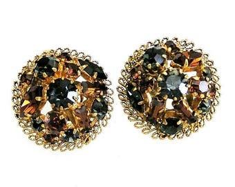 J-3185 Austria Charcoal and Amber Earrings