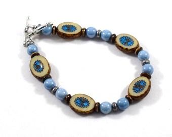Handmade Bracelet, Blue Brown Bracelet, Blue Jeans Bracelet, Czech Glass Bracelet, Beaded Bracelet, Boho Bracelet, Denim Blue Bracelet, B022