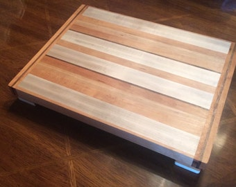 Butcher Block Cutting Board Made From Tiger Maple, Cherry and Walnut