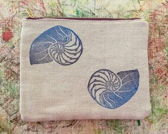 Pūpū (Shell) Block Prints on a Cute Canvas Clutch!