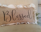 SHOP HOP ITEM Burlap and Ruffle Blessed Pillow