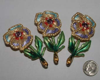 PANSEY FLOWER LOT early 90s for these gorgeous hand decorated pins - still work  with rhinestones too