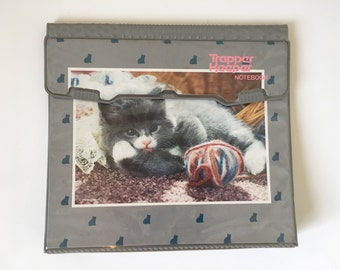 Vintage Trapper Keeper Kitten with Yarn Cats 1980s Notebook Binder Velcro Fasten School Supplies