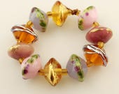 Lampwork Beads Set Etched Matte Rustic Glass Saucer,Pink, Lavender, Gold