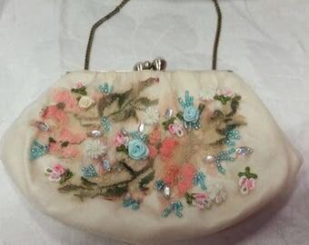 wedding bag, bridal bag, beaded bag, ribbonwork seed beads, one of a kind, wrist art, victorian purse, spring blossoms