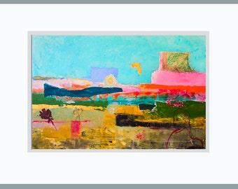 Fine Art Print, Landscape Print Giclee Art, blue pink gray, turquoise, abstract landscape, girl modern decor, wall art, by Ana Gonzalez