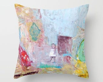 Art pillow cover, pillow case, decorative throw pillow, spun poplin, cushion case, abstract landscape, girl full color