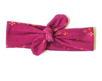 FUCHSIA FLOWER Headband- Knit Headband - Top Knot Headband - Baby, Toddler, Child