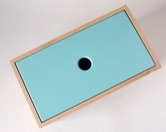 Maple Recipe Box with Turquoise lid