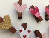 Valentines Clothes Pins, Valentines Clips, Valentines Supplies, Valentines Magnets, Valentines Gifts - Set of 6