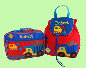 Child's Personalized Stephen Joseph Toddler CONSTRUCTION Backpack and Lunch Box School Set in Red-Monogramming Included