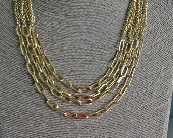 """Vintage multi-strand gold tone 20""""  necklace in great condition"""