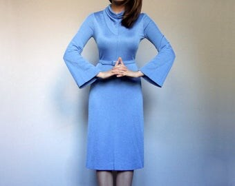 Vintage 70s Blue Dress Bell Sleeve Dress Long Sleeve Dress Vintage Dress 70s Dress Cowl Neck Dress - Extra Small XXS XS