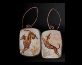 Greyhound Jewlery: The Red Hounds at Play Earrings. Dogs. Original Ink Drawing on Polymer Clay. Shades of Copper, Gold and Silver 4265