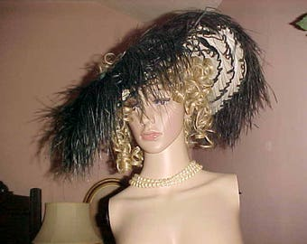 RESERVED Vintage EDWARDIAN Hat Ostrich Gay 90s Merry Widow/CAN Can Under Ruffle Halo Also Kentucky Derby