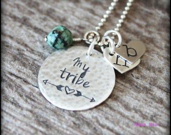 My Tribe Necklace, My Tribe Jewelry, Hand Stamped My Tribe, Family Necklace, Kids Initials Necklace, Mommy Necklace, Mamas Tribe, Mama Mia
