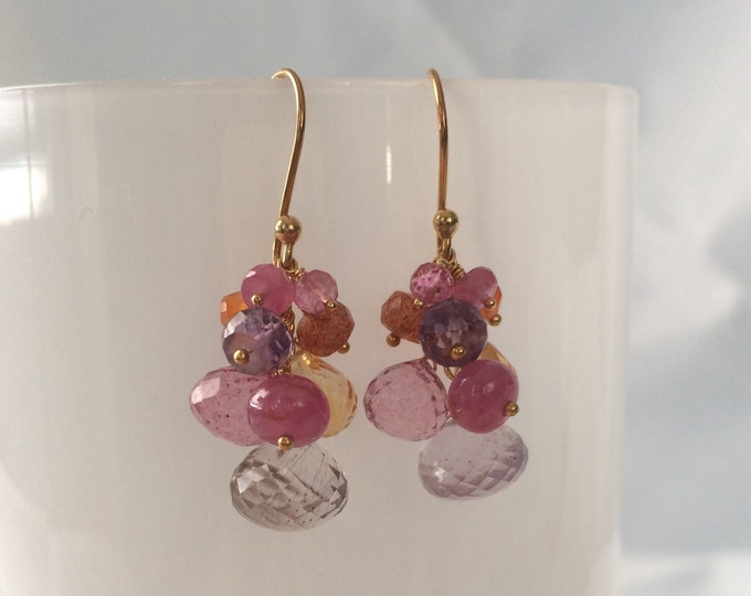 Semiprecious Gemstone Earrings in Gold Vermeil with Moss Amethyst, Citrine, Mystic Pink Quartz, Pink Sapphire, Orange Carnelian, Sunstone