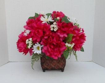 Silk Peony Flower Floral Arrangement, Table Centerpiece