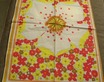 groovy flower power tea towel