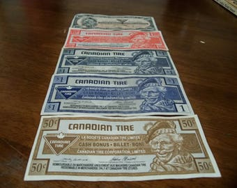 5  vintage Canadian tire bank notes different amounts