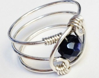 Blue Sapphire Ring  Sapphire Jewelry  Blue Sapphire Gemstone Ring  Sapphire Ring   Sterling Rings for Women