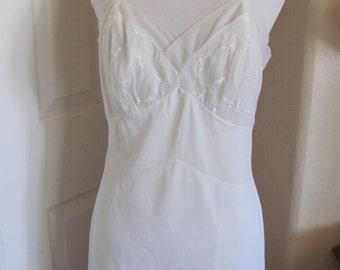 Slip Artemis Vintage White Silky Lingerie Boudior Pajama Nightgown Slip Size 36 Short