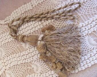 "Giant Large 12"" Long Gold Ornate Drapery Tassel Rope Tie Back"